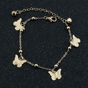 Gold-coloured  Anklet with Butterfly Charms