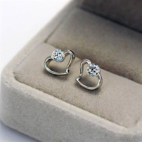 Heart Earrings with CZ