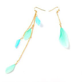 Natural Feather Earrings - turquoise