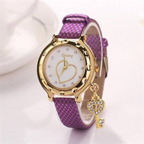 Women's watch with charms - purple