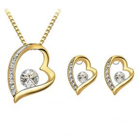 Golden Heart Jewellery Set
