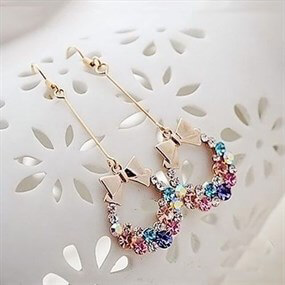 Multi-coloured Crystal Bowknot Earrings