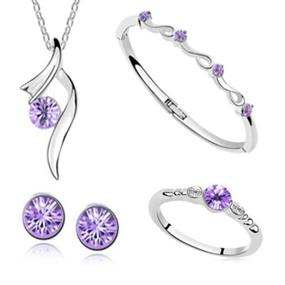 4 Pieces Jewellery Set - purple