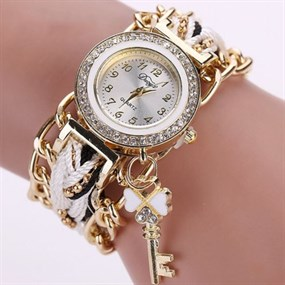 Braided Bracelet Watch with Key Charm