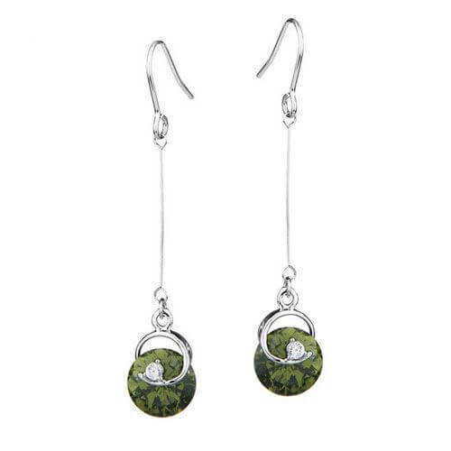 Olive Green - Long Earrings with CZ