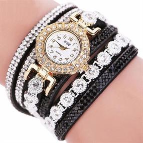 Dazzling Wrap Bracelet Watch - black