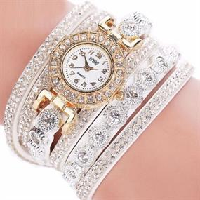 Dazzling Wrap Bracelet Watch - white