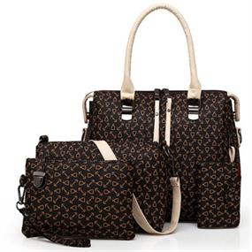 4 Pcs Arrow Pattern Bag Set - brown